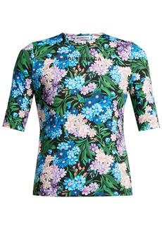 Balenciaga Logo and floral-print stretch-jersey top