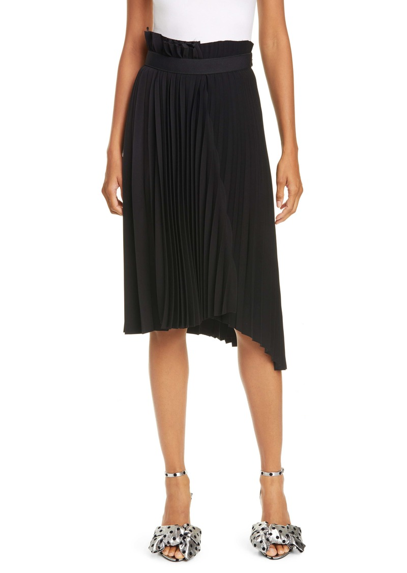 Balenciaga Logo Belt Asymmetrical Pleated Skirt