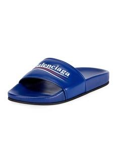 Balenciaga Logo Campaign Flat Pool Slide Sandal