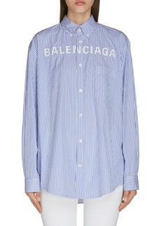 Balenciaga Logo Collegiate Stripe Shirt