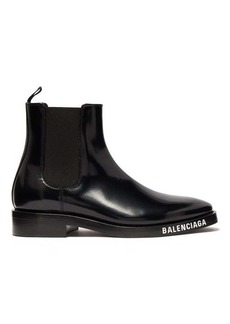 Balenciaga Logo-debossed patent-leather chelsea boots