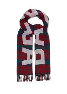 Balenciaga Logo-embroidered checked wool scarf