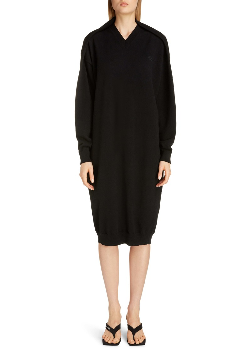 Balenciaga Logo Embroidered Pinched Long Sleeve Wool Blend Sweater Dress