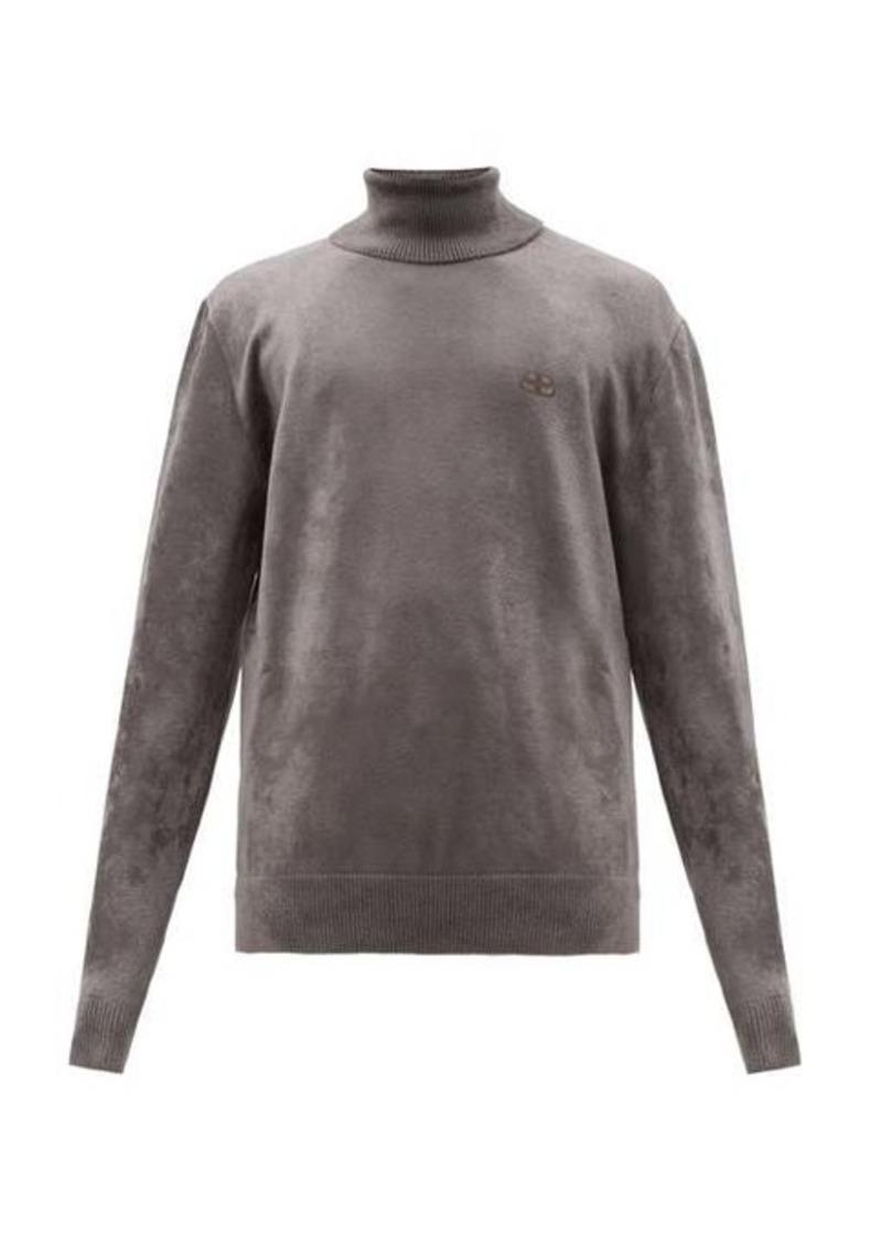 Balenciaga Logo-embroidered roll-neck chenille sweater