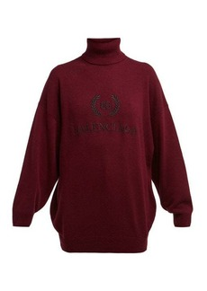 Balenciaga Logo-embroidered roll-neck wool-blend sweater
