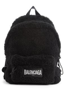 Balenciaga Logo Faux Shearling Backpack