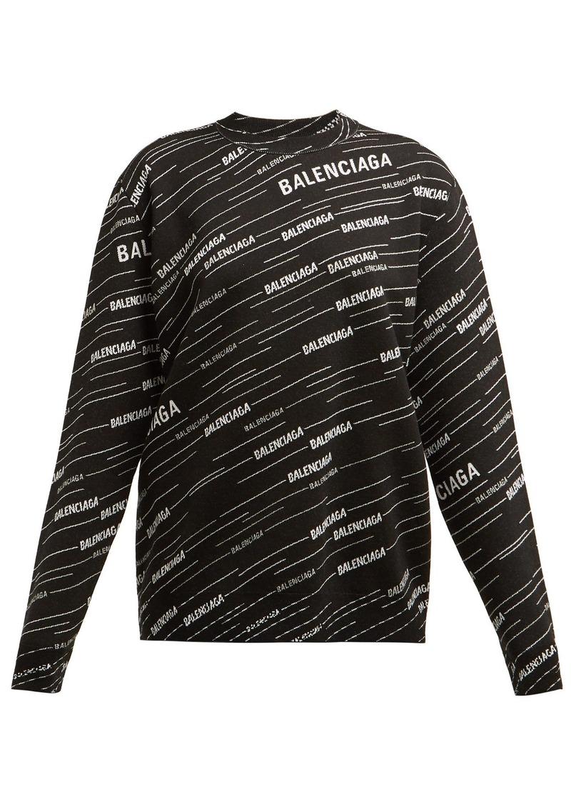 45da401c99b Balenciaga Balenciaga Logo-intarsia crew-neck sweater