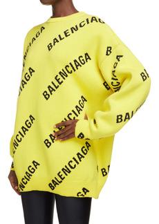 Balenciaga Logo Intarsia Oversize Crewneck Sweater