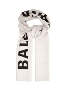 Balenciaga Logo-intarsia reversible wool scarf