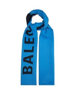 Balenciaga Logo-intarsia wool scarf