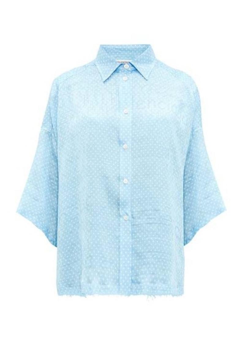 Balenciaga Logo-jacquard polka dot-print silk blouse