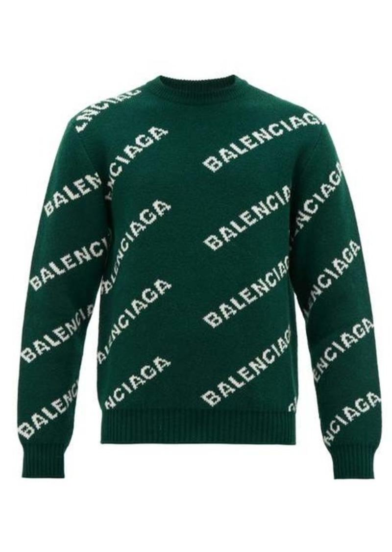 Balenciaga Logo-jacquard wool-blend sweater