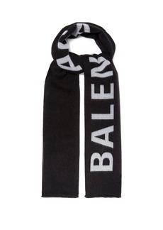 Balenciaga Logo-jacquard wool scarf