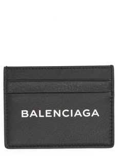 Balenciaga Logo Leather Card Case