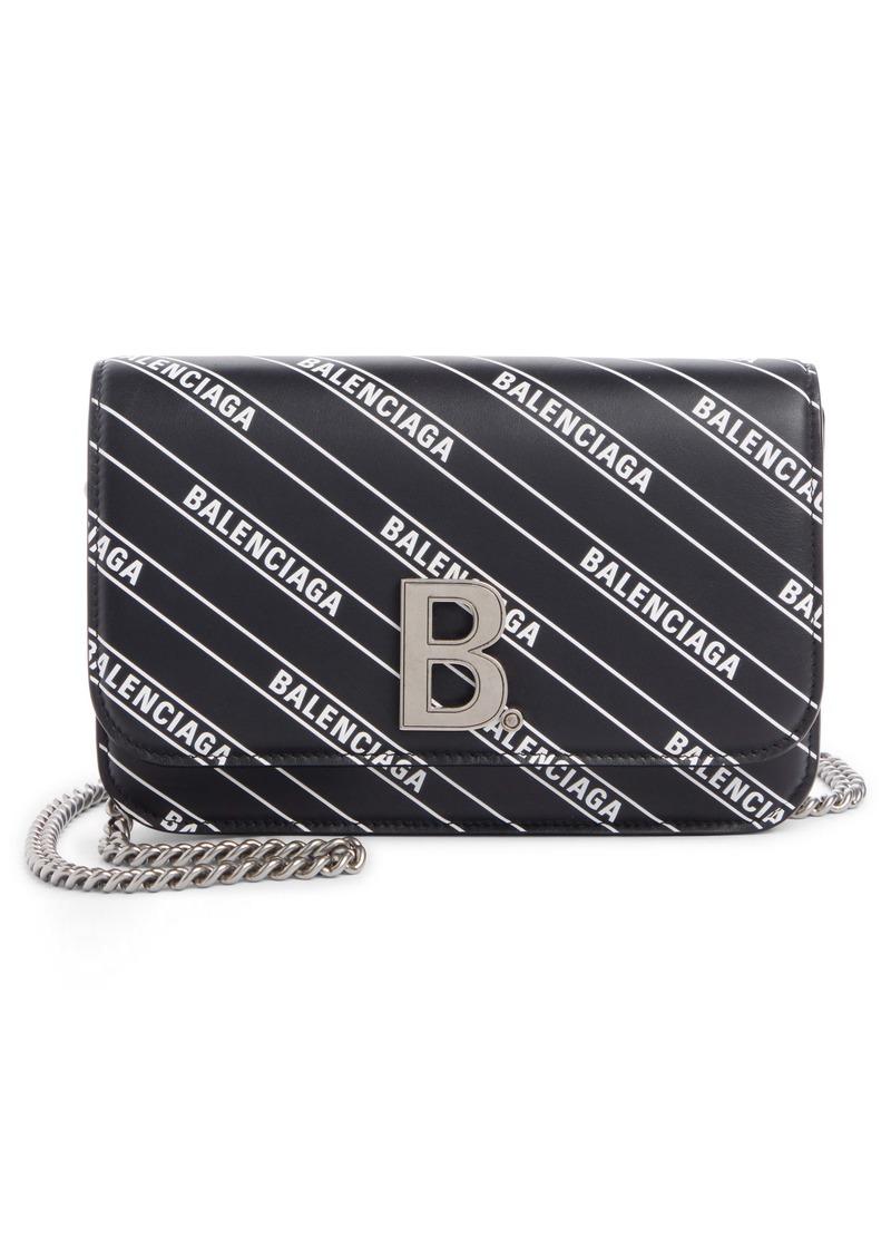 Balenciaga Logo Leather Wallet on a Chain