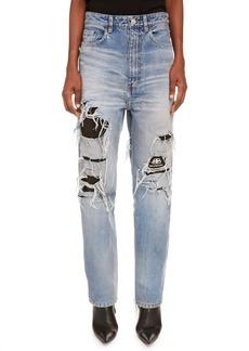 Balenciaga Logo Lined Ripped High Waist Straight Leg Jeans (Dirt Light Vintage Blue)