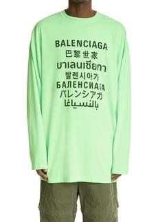 Balenciaga Logo Long Sleeve Graphic Tee