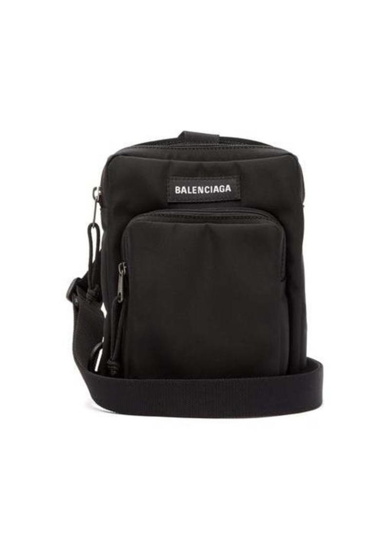 Balenciaga Logo-patch canvas cross-body bag