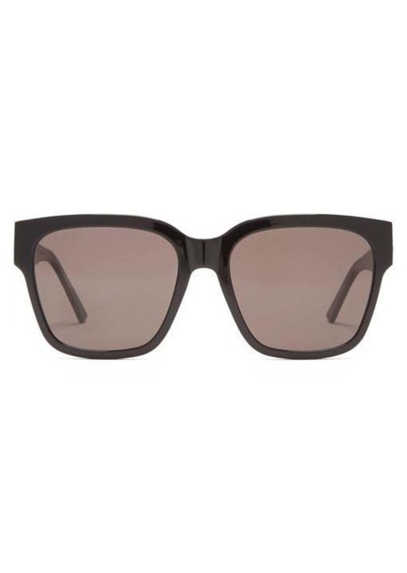 Balenciaga Logo-plaque oversized square acetate sunglasses