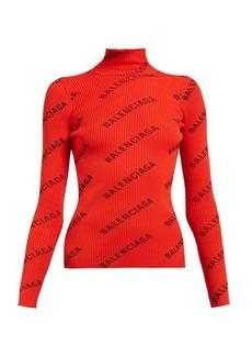 Balenciaga Logo-print funnel neck jersey top