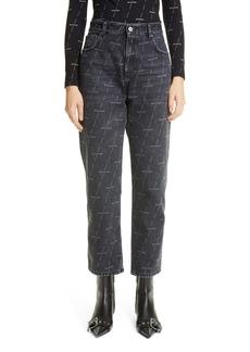 Balenciaga Logo Print High Waist Crop Straight Leg Jeans (Stonewash Black)