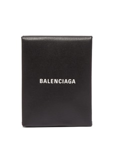 Balenciaga Logo-print leather clutch
