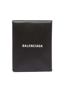 Balenciaga Logo-print leather clutch