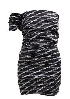 Balenciaga Logo-print off-the-shoulder dress
