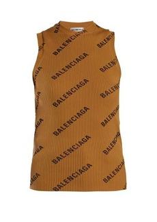 Balenciaga Logo-print ribbed-knit sleeveless top