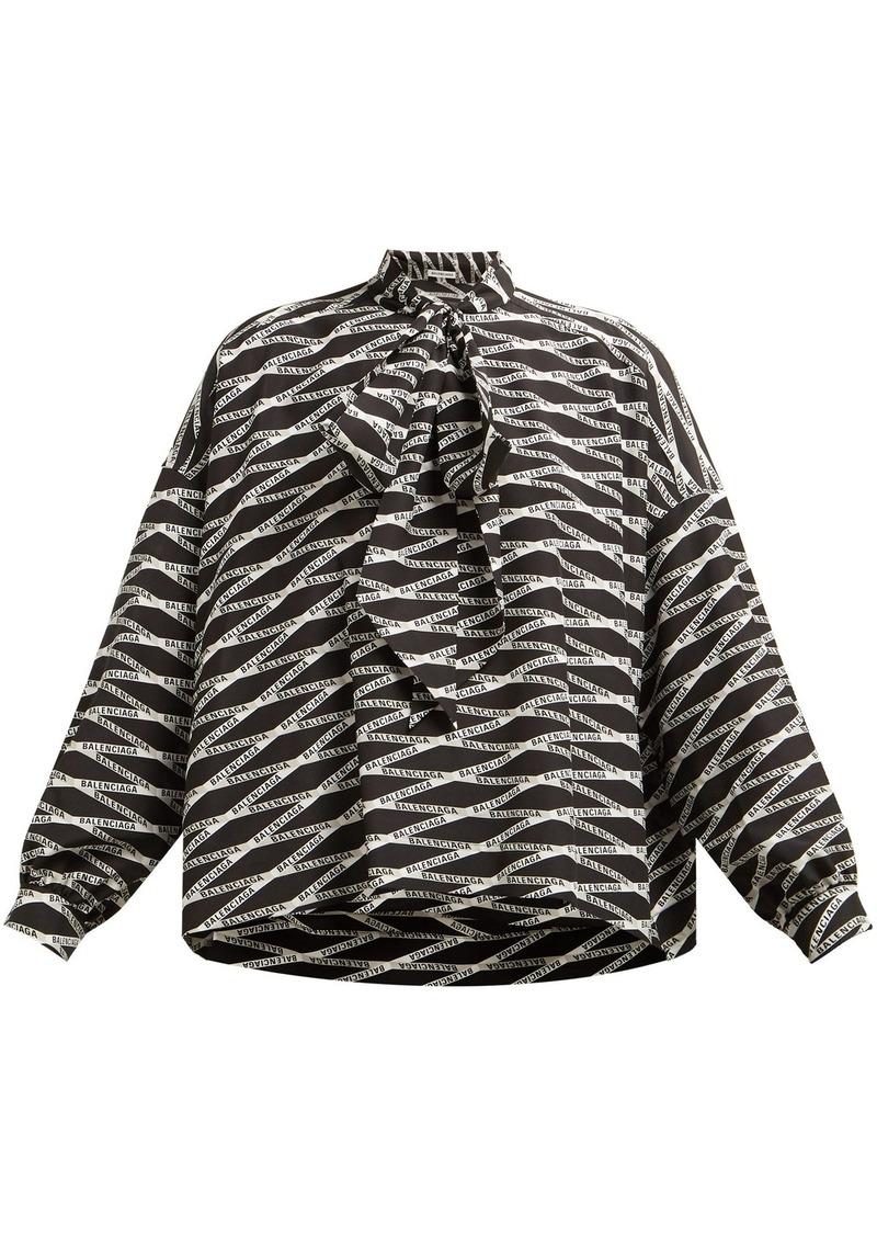 8ba4dfcc7dbe8 Balenciaga Balenciaga Logo-print silk blouse