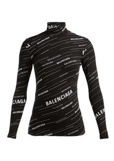 Balenciaga Logo-stripe high-neck top