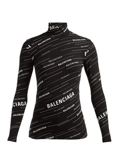 Balenciaga Logo-stripe high-neck top