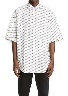 Balenciaga Logo Stripe Oversize Button-Down Shirt