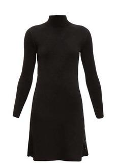 Balenciaga Logo-tab high-neck velvet dress