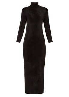 Balenciaga Logo-tab velvet pencil dress