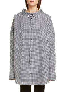 Balenciaga Logo Vichy Oversize Poplin Shirt