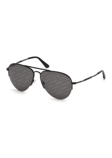 Balenciaga Logomania Metal Aviator Sunglasses