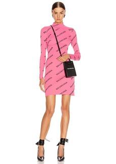Balenciaga Long Sleeve Rib Short Dress