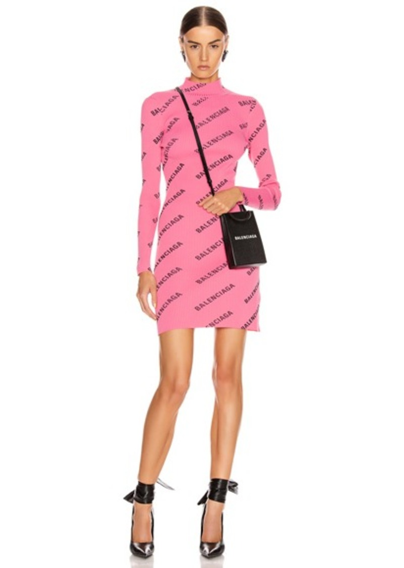 Balenciaga Long Sleeve Rib Short Dress