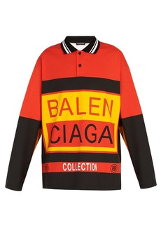 Balenciaga Long-sleeved logo-print cotton polo shirt
