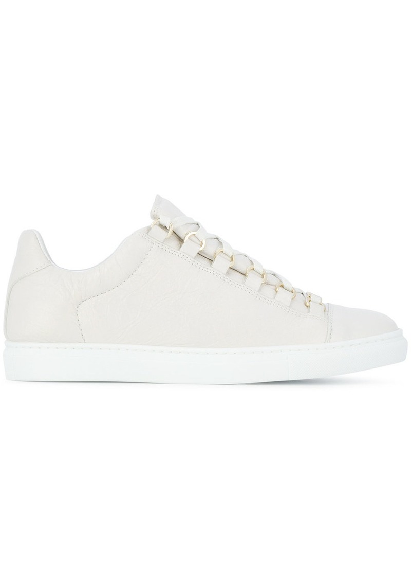 Balenciaga white Arena crinkled leather sneakers