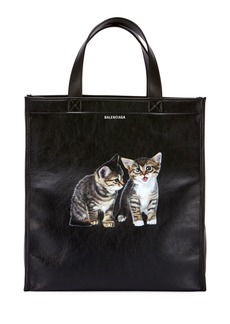 Balenciaga Market Shopper Small Tote Bag with Kitten Animal Graphic