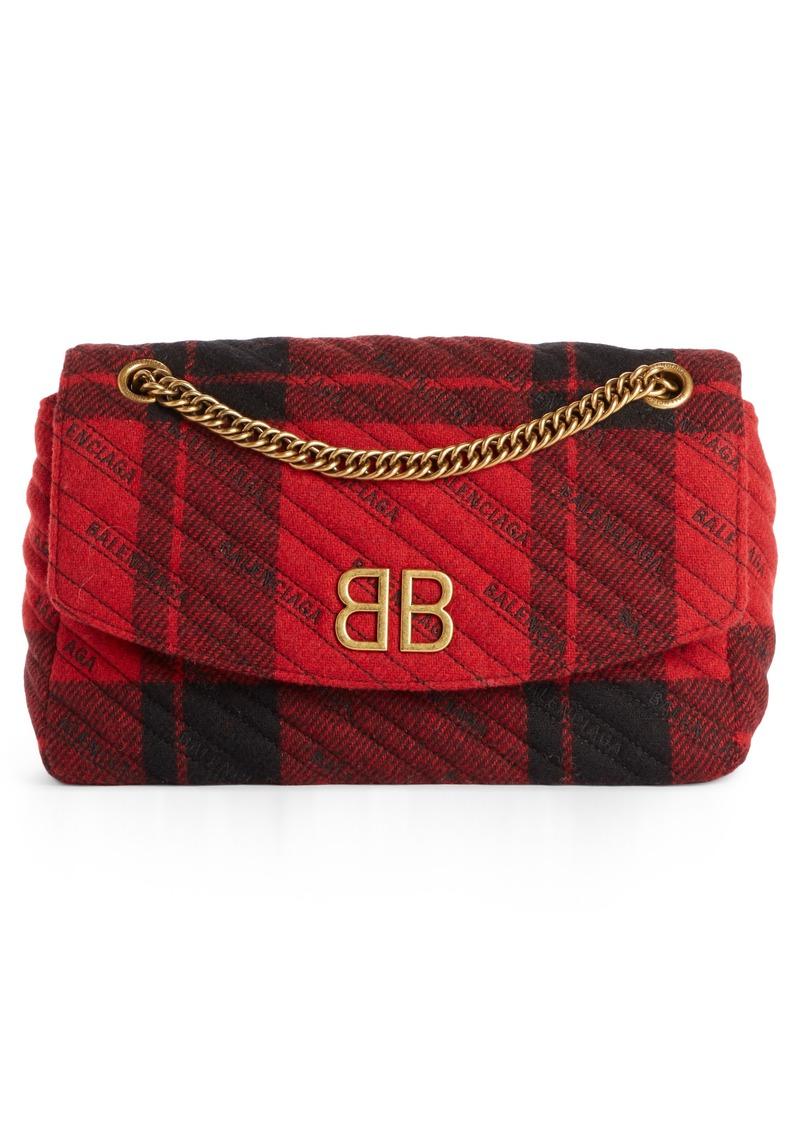 Balenciaga Medium BB Round Plaid Shoulder Bag
