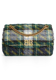 Balenciaga Medium BB Round Plaid Shoulder Bag