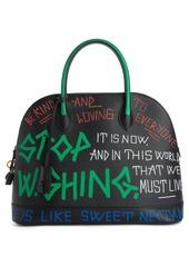 Balenciaga Medium Graffiti Calfskin Leather Dome Satchel