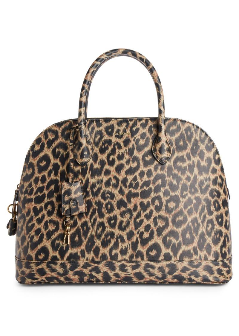 8d1a128c8a61 Balenciaga Medium Leopard Print Leather Satchel with Water-Repellent Coat