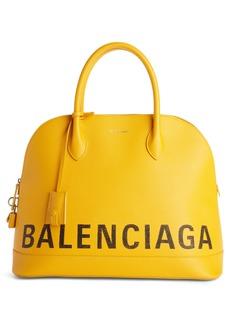 Balenciaga Medium Logo Leather Satchel with Water-Repellent Coat
