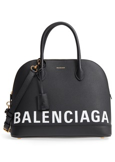 Balenciaga Medium Ville Logo Leather Satchel