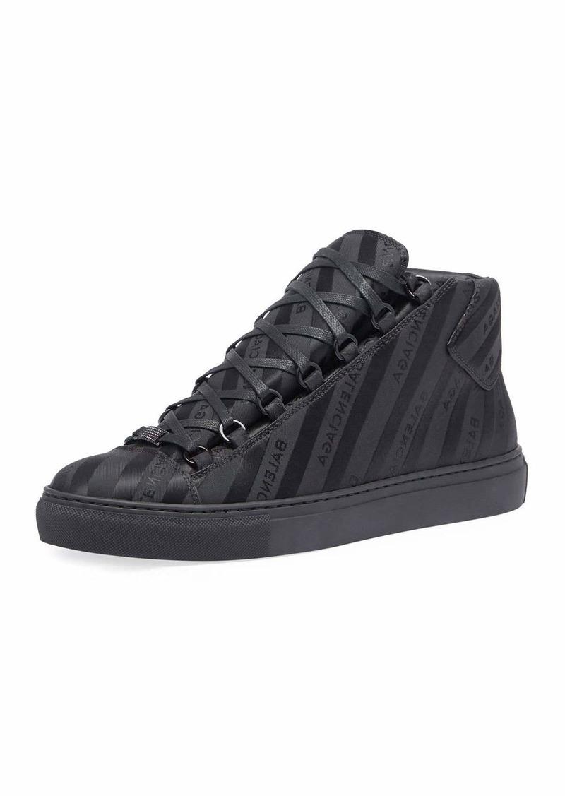 8305351e683e6 Balenciaga Men s Arena Striped Leather Mid-Top Sneaker