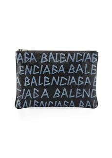 Balenciaga Men's Graffiti Pouch Wallet